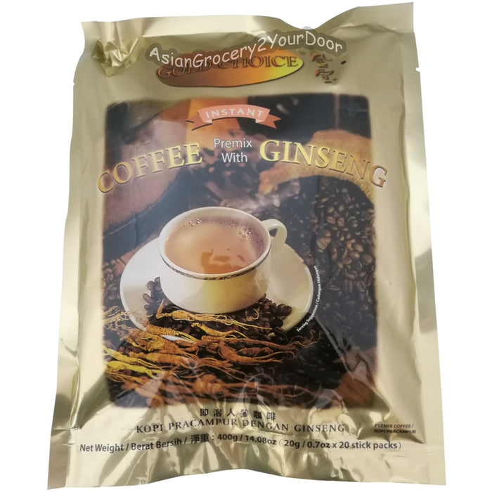 Gold Choice - Instant Coffee Premix with Ginseng - 14.08 oz / 400 g - Asiangrocery2yourdoor