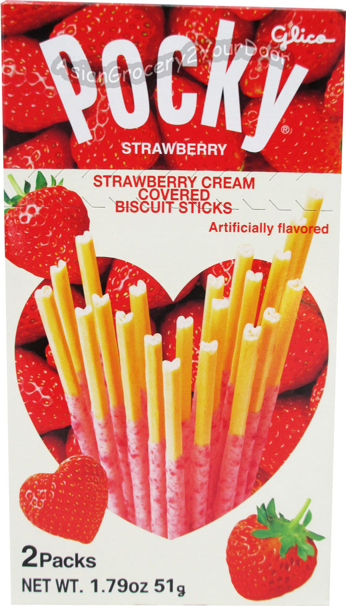 Glico Pocky - Strawberry Covered Heart Biscuit Sticks - 1.79 oz / 51 g - Asiangrocery2yourdoor