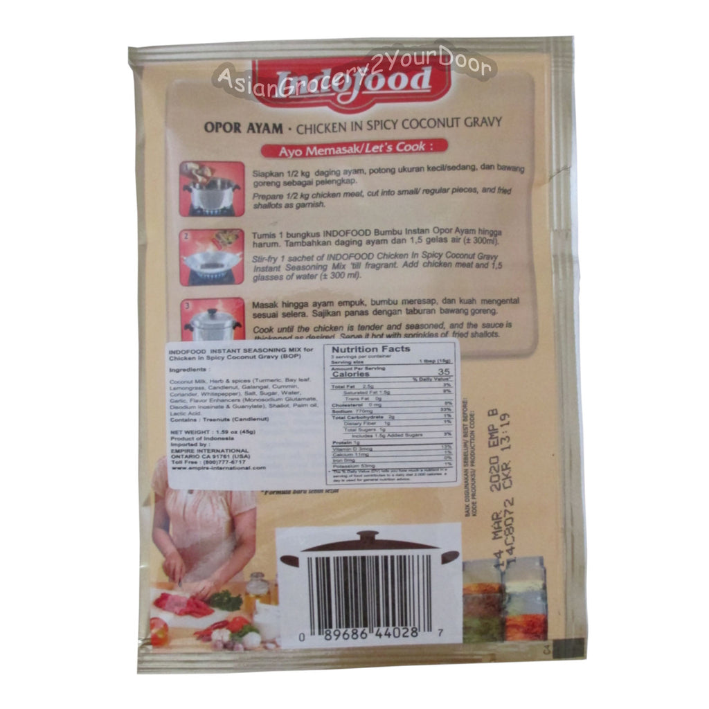 Indofood - Opor Ayam Chicken in Spicy Coconut Gravy Mix - 9.5 oz / 270 g - Asiangrocery2yourdoor