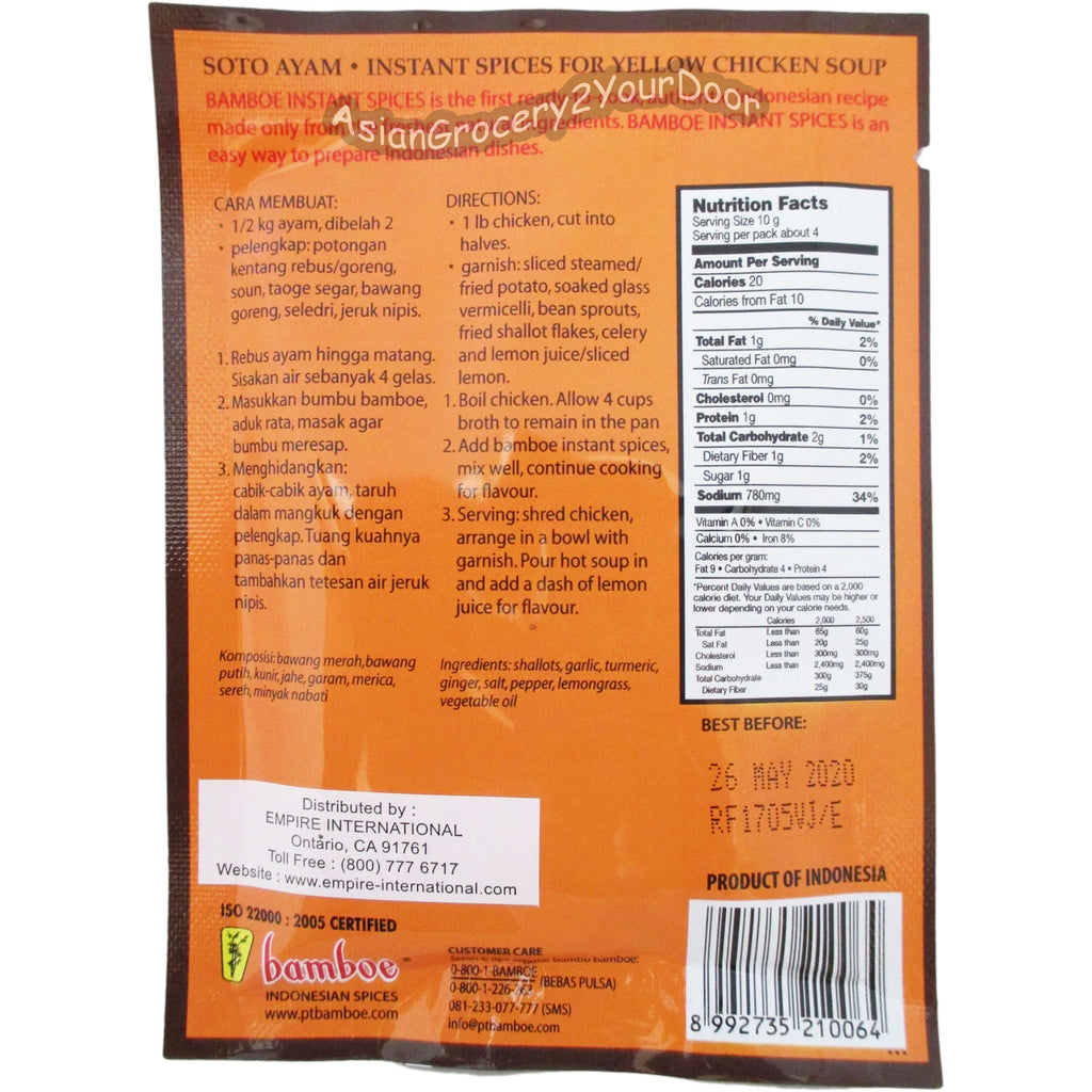 Bamboe - Soto Ayam Instant Spices for Yellow Chicken Soup - 1.04 oz / 40 g - Asiangrocery2yourdoor