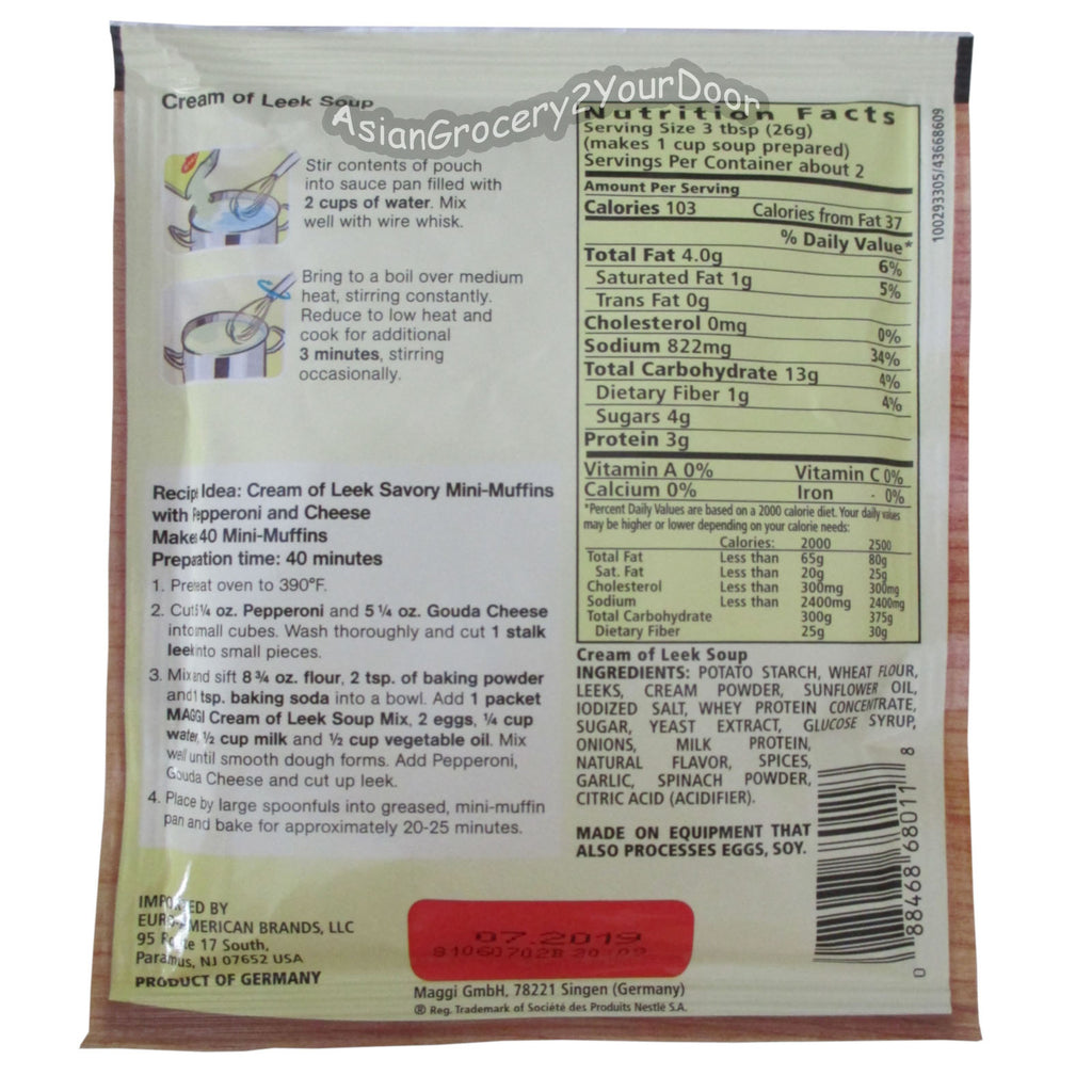 Maggi - Cream of Leek Soup - 1.8 oz / 51 g - Asiangrocery2yourdoor