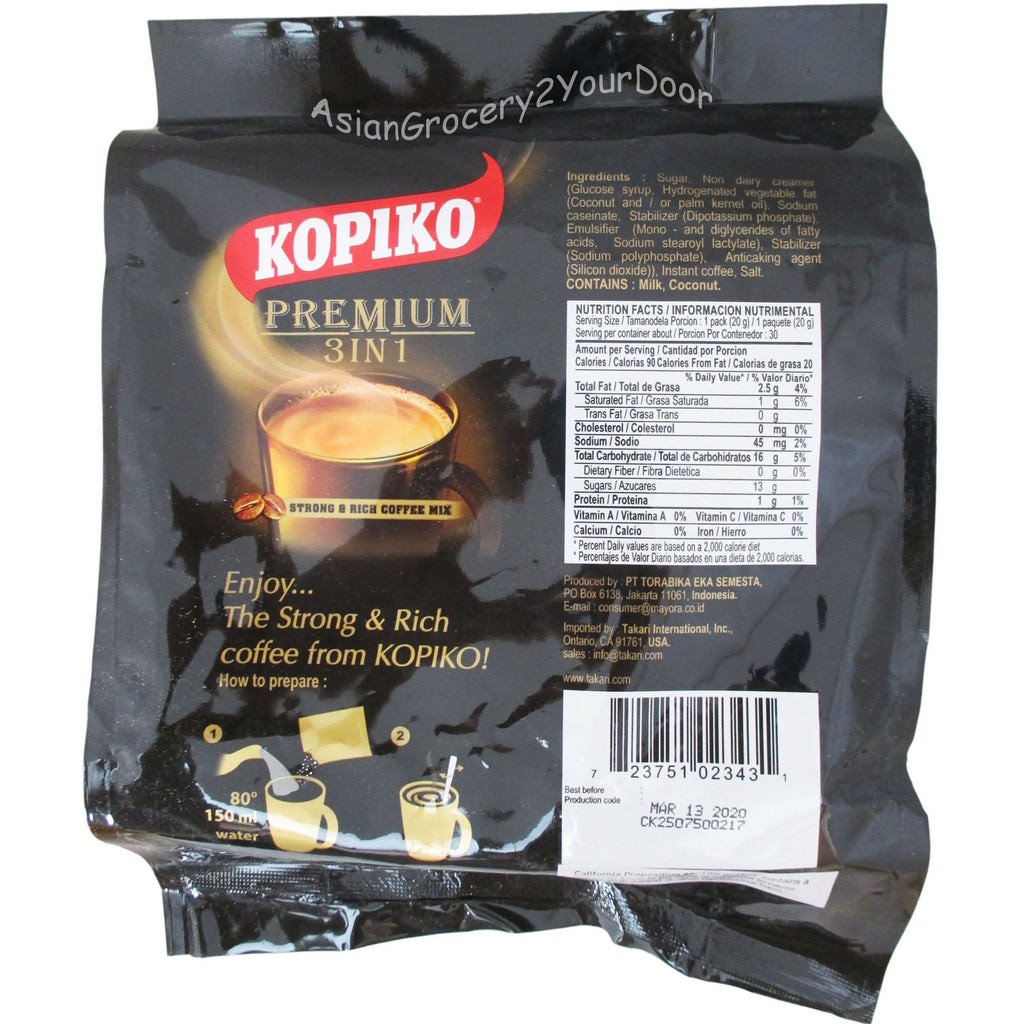 Kopiko - Premium 3 in 1 Coffee Mix - 21.2 oz / 600 g - Asiangrocery2yourdoor