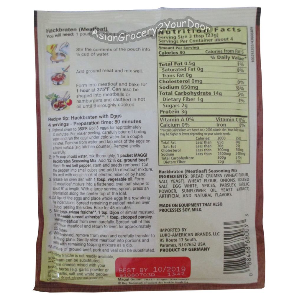 Maggi - Meatloaf Seasoning Mix - 3.25 oz / 92 g - Asiangrocery2yourdoor