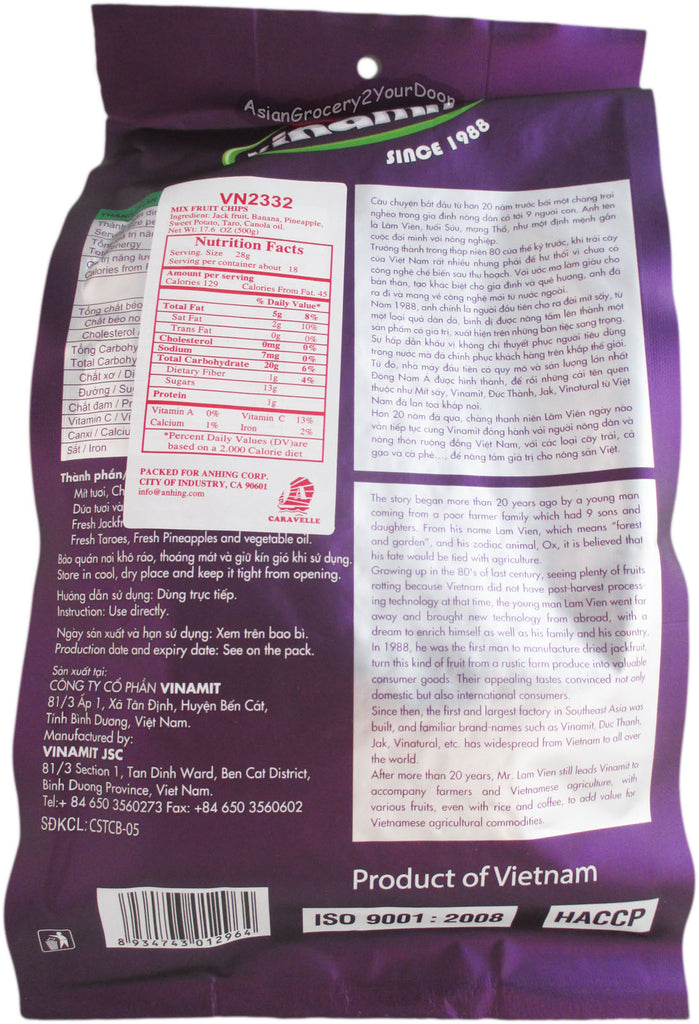 Vinamit - Mix Fruit Chips - 17.7 oz / 500 g - Asiangrocery2yourdoor