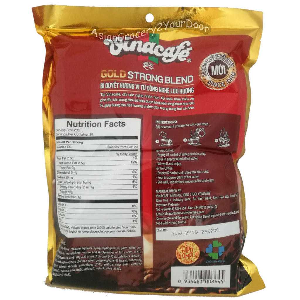 Vinacafe - 3 in 1 Gold Strong Blend Coffee Mix - 14.1 oz / 400 g - Asiangrocery2yourdoor