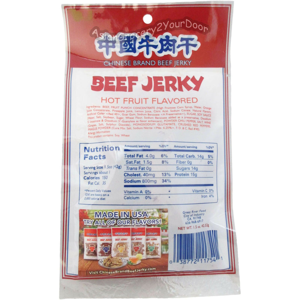 Chinese Brand - Hot Fruit Flavored Beef Jerky - 1.5 oz / 42.52 g - Asiangrocery2yourdoor