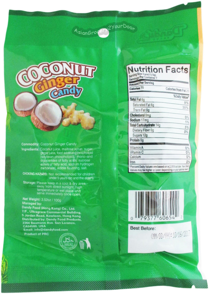 Dandy's Coconut Ginger Candy - 3.52 oz / 100 g - Asiangrocery2yourdoor