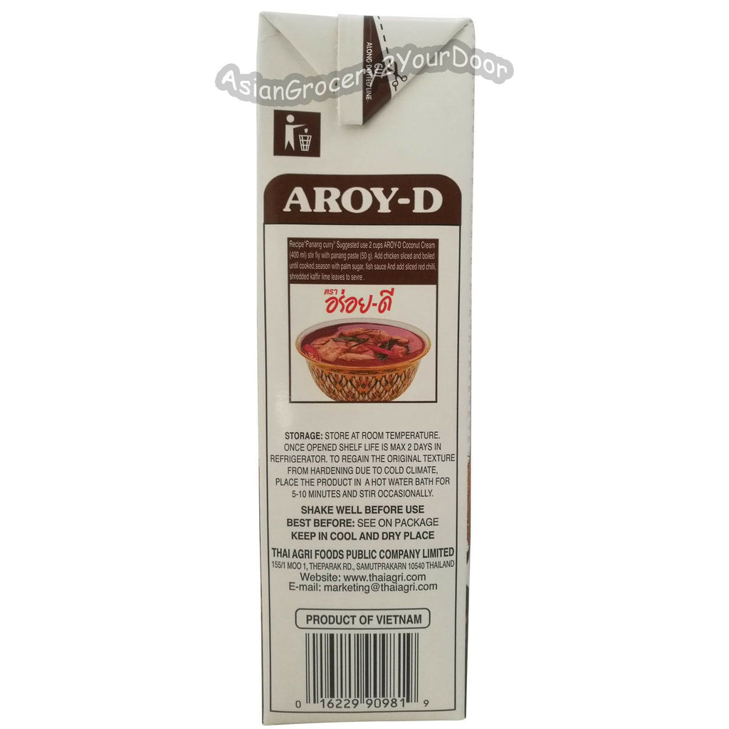 Aroy-D - Coconut Cream - 33.8 fl oz / 1000 ml - Asiangrocery2yourdoor