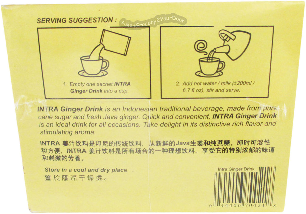 Intra - Ginger Drink with Less Sugar - 10.5 oz / 300 g - Asiangrocery2yourdoor