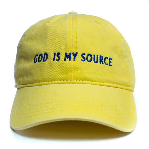 God Is My Source Dad Hat Yellow/Blue - hat ManiaManiaMania