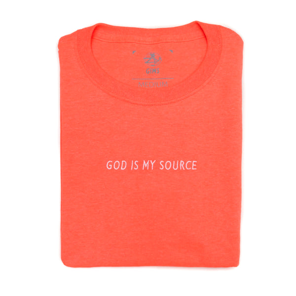God Is My Source T-Shirt Coral / White - Shirts ManiaManiaMania
