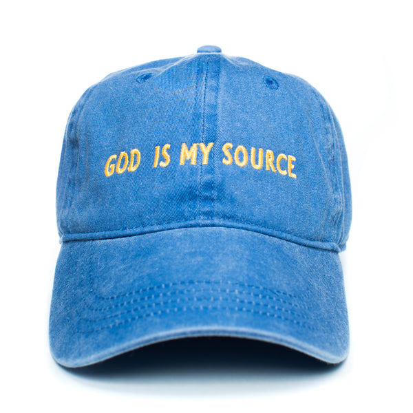 God Is My Source Dad Hat Royal/Yellow - hat ManiaManiaMania