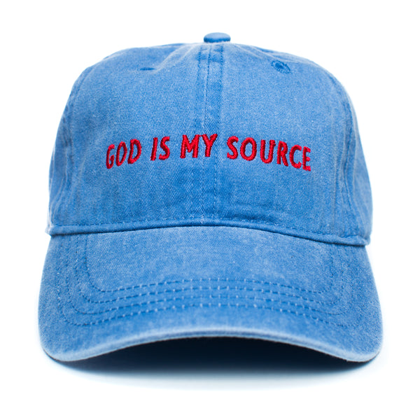 God Is My Source Dad Hat Royal/Red - hat ManiaManiaMania