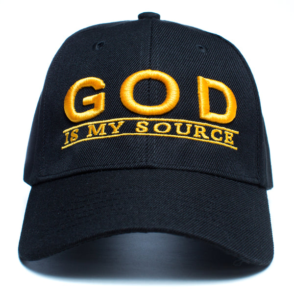 "God Is My Source ""Line Logo"" Hat Black/Gold - hat God Is My Source"