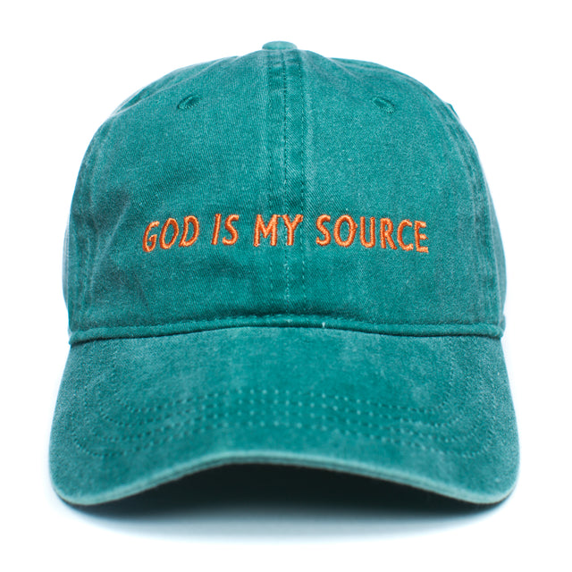 God Is My Source Dad Hat Green/Orange