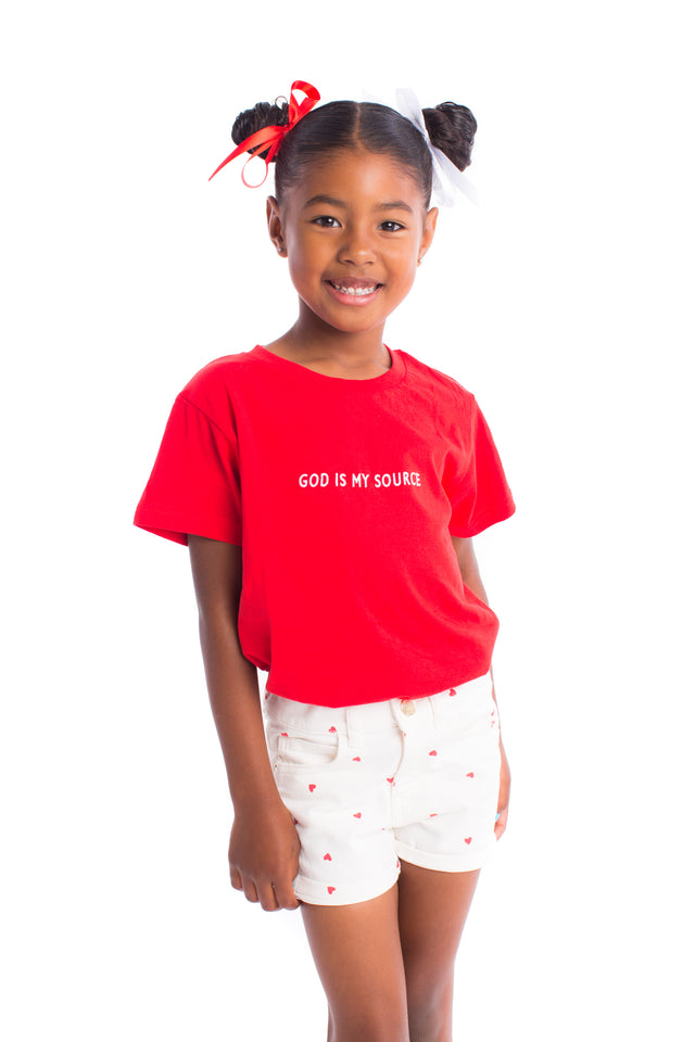 God Is My Source Kid's T-Shirt Red/White - Children God Is My Source