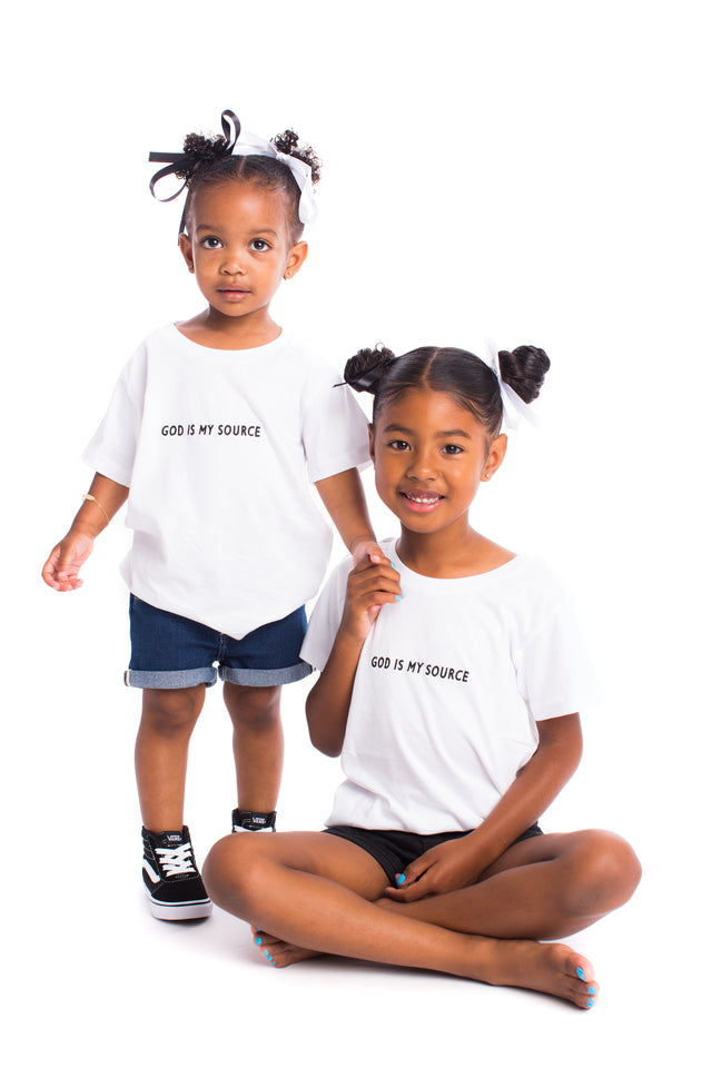 God Is My Source Kid's T-Shirt White / Black - Children God Is My Source