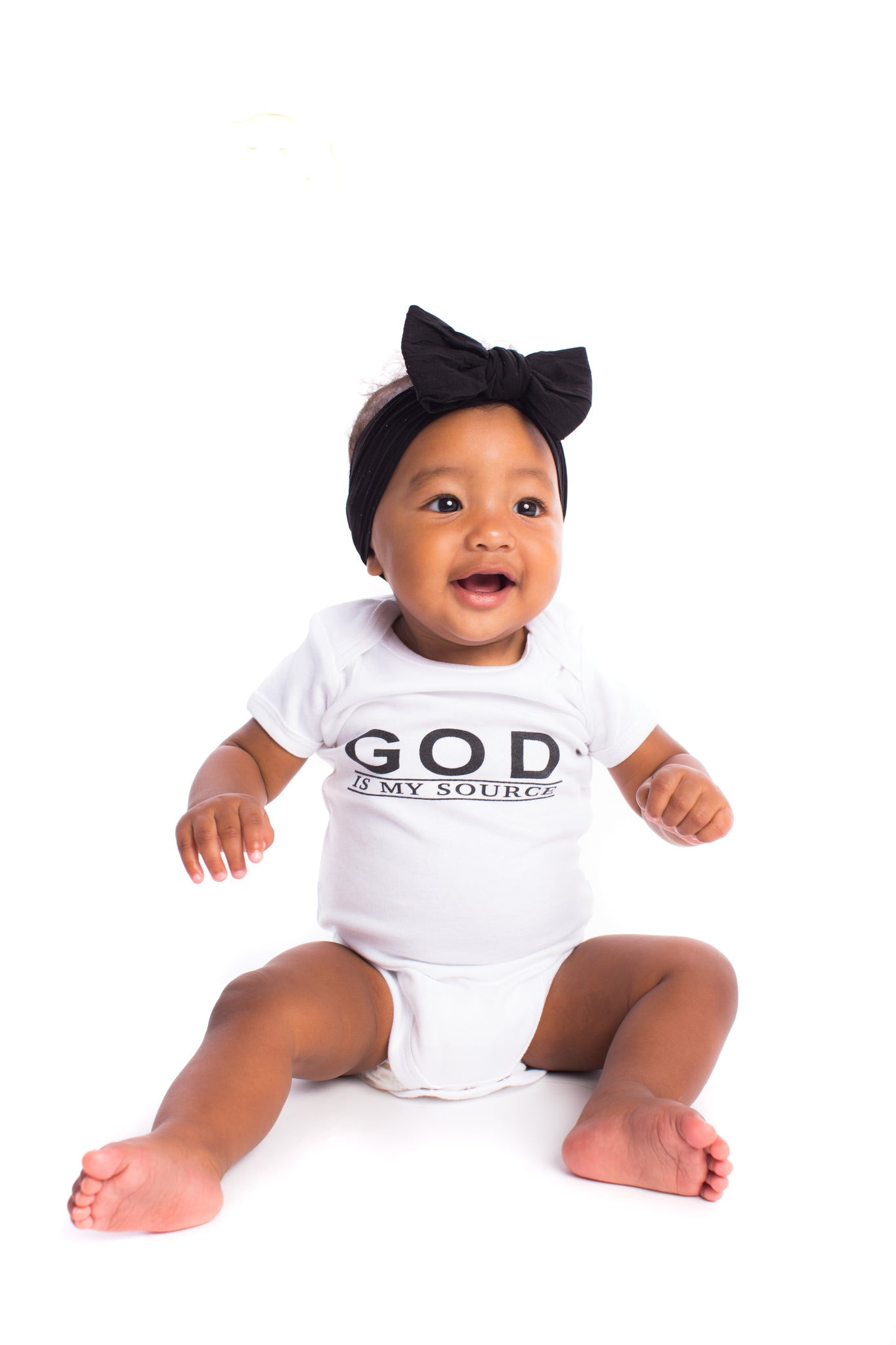 "God Is My Source ""Line Logo"" Infant Onesies T-Shirt Black/White - Children God Is My Source"