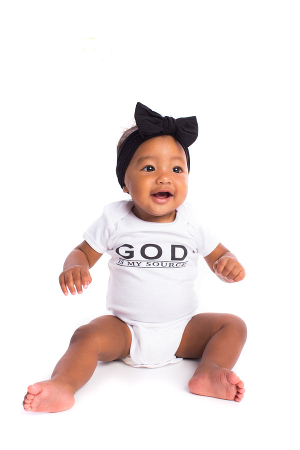 "God Is My Source ""Line Logo"" Infant Onesies T-Shirt Black/White - Children ManiaManiaMania"