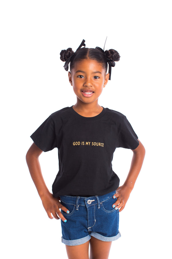 God Is My Source Kid's T-Shirt Black / Gold - Children ManiaManiaMania