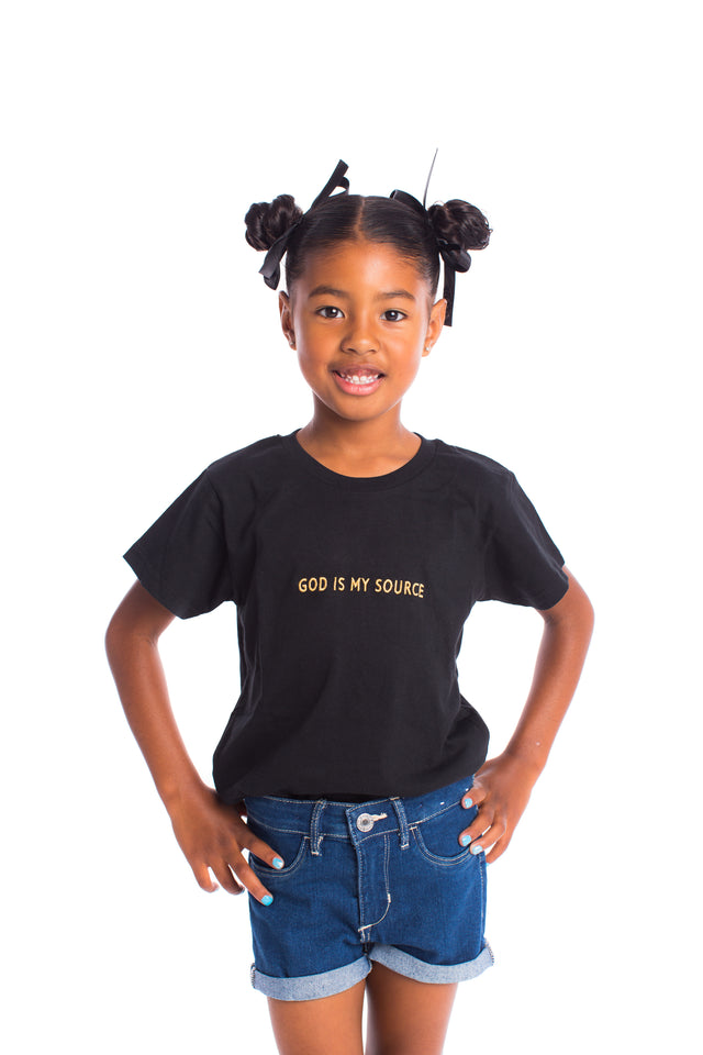God Is My Source Kid's T-Shirt Black / Gold - Children God Is My Source