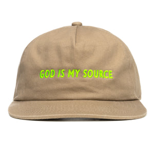 God Is My Source Hat Khaki/Lime - hat God Is My Source