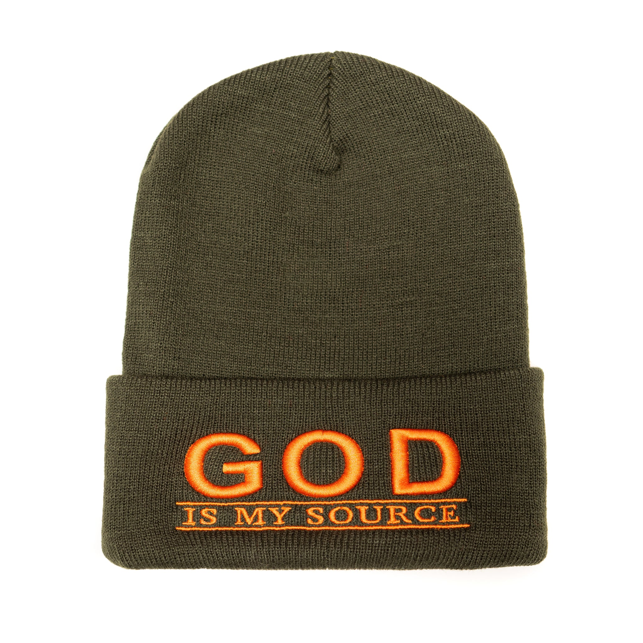 God Is My Source 'Line Logo' Beanie Olive/Orange - hat God Is My Source