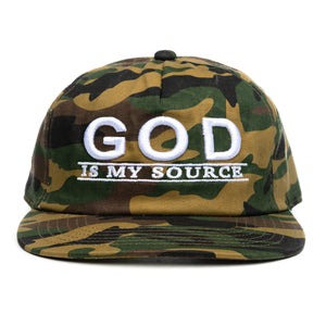 God Is My Source Hat Green Camo/White - hat God Is My Source