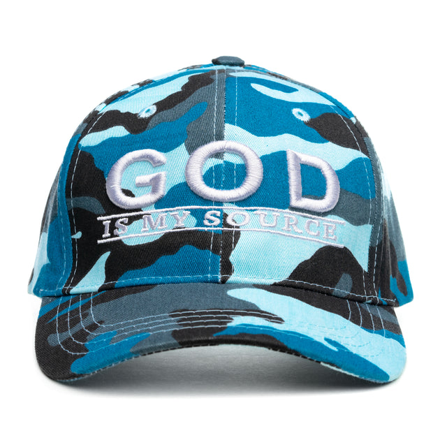 "God Is My Source ""Line Logo"" Hat Blue Camo/Gray - hat God Is My Source"