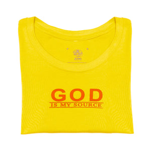 God Is My Source 'Line Logo' Women's T-Shirt Yellow/Coral - Shirts God Is My Source
