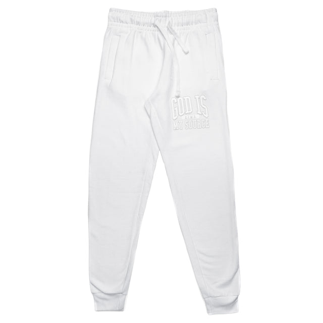 God Is My Source 'Campus' Joggers White / White - Sweatshirt God Is My Source