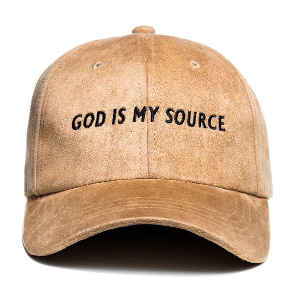 God Is My Source Dad Hat Suede Khaki / Black - hat God Is My Source