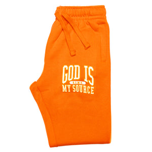 God Is My Source 'Campus' Joggers Orange / White - Sweatshirt God Is My Source