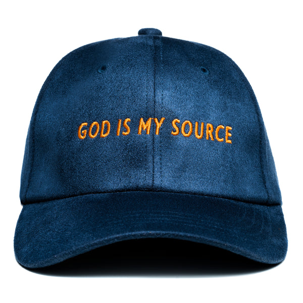 God Is My Source Hat Suede Navy / Orange