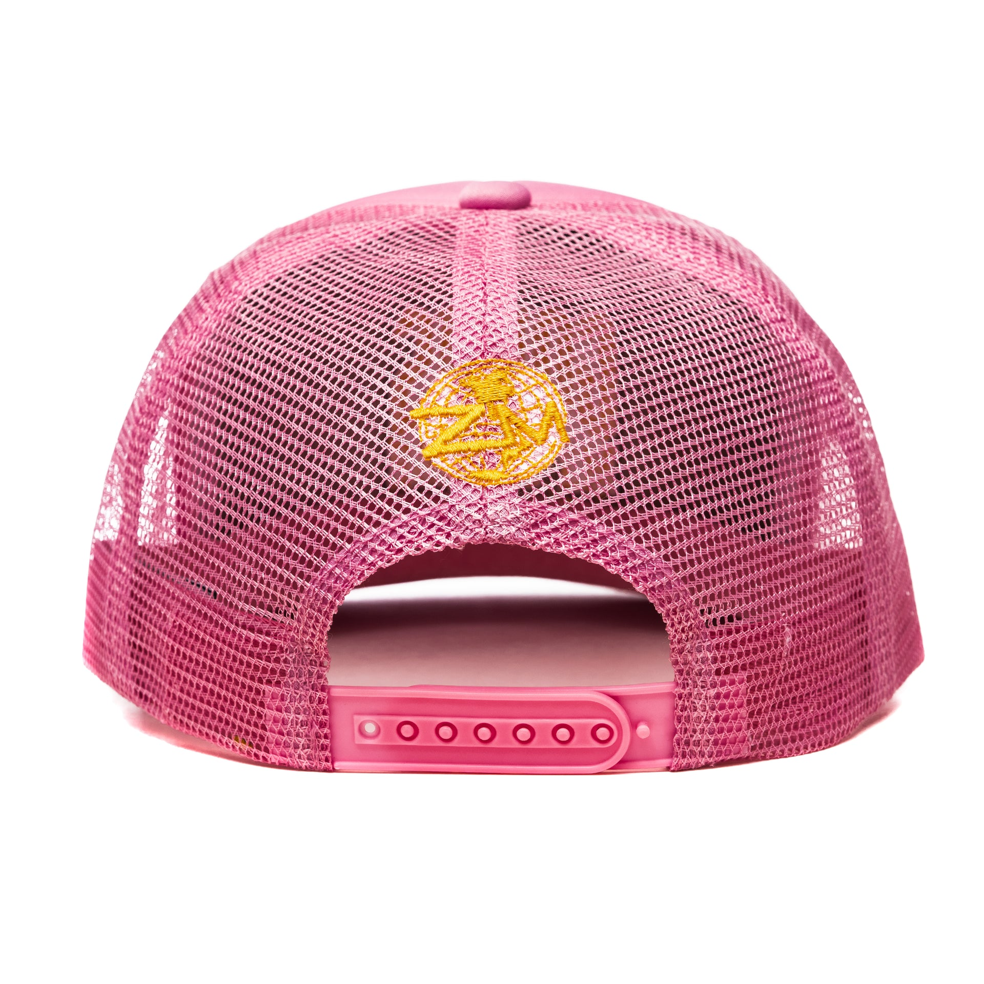 "God Is My Source ""Campus"" Trucker Hat Neon Pink / Gold - hat God Is My Source"