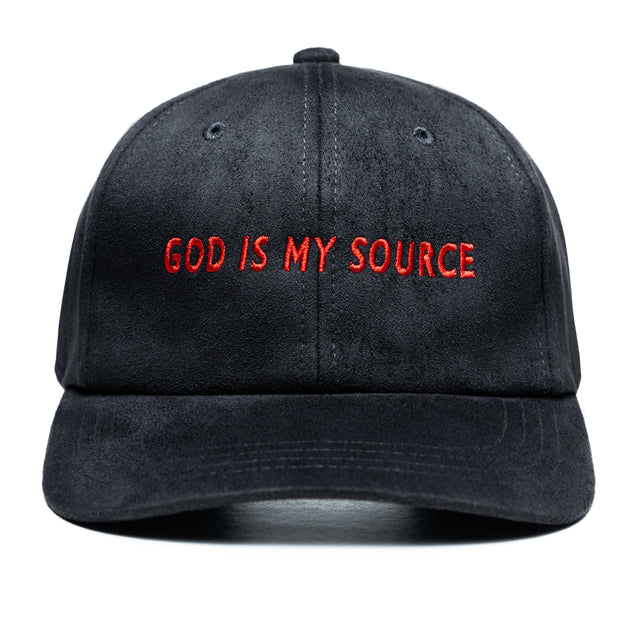 God Is My Source Hat Suede Black / Red - hat God Is My Source