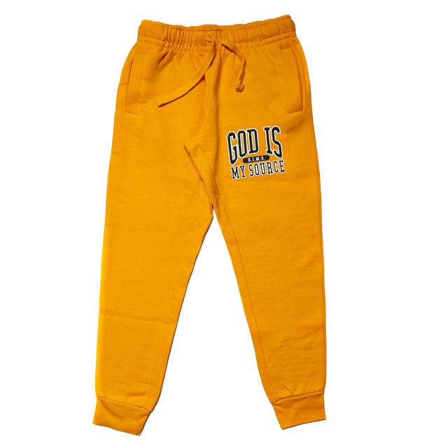 God Is My Source 'Campus' Joggers Gold / Black - Sweatshirt God Is My Source