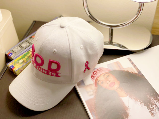 "God Is My Source ""Line Logo"" Hat White / Pink / Pink Ribbon"