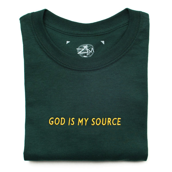 God Is My Source T-Shirt Green/Gold - Shirts ManiaManiaMania
