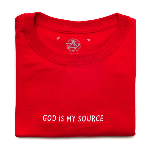 God Is My Source T-Shirt Red/White - Shirts ManiaManiaMania