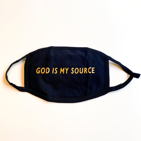 God Is My Source Face Mask Black / Gold