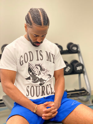 God Is My Source 'Praying Hands' T-Shirt White / Black - Shirts God Is My Source