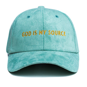 God Is My Source Dad Hat Suede Mint Green / Gold - hat God Is My Source
