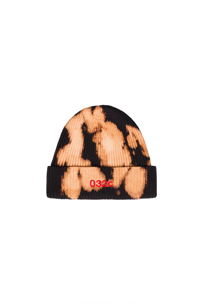 Beanie with Logo Embroidery - Black Bleached
