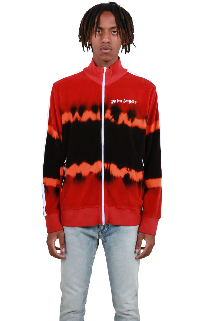 Tie Dye Chenille Track Jacket - Red