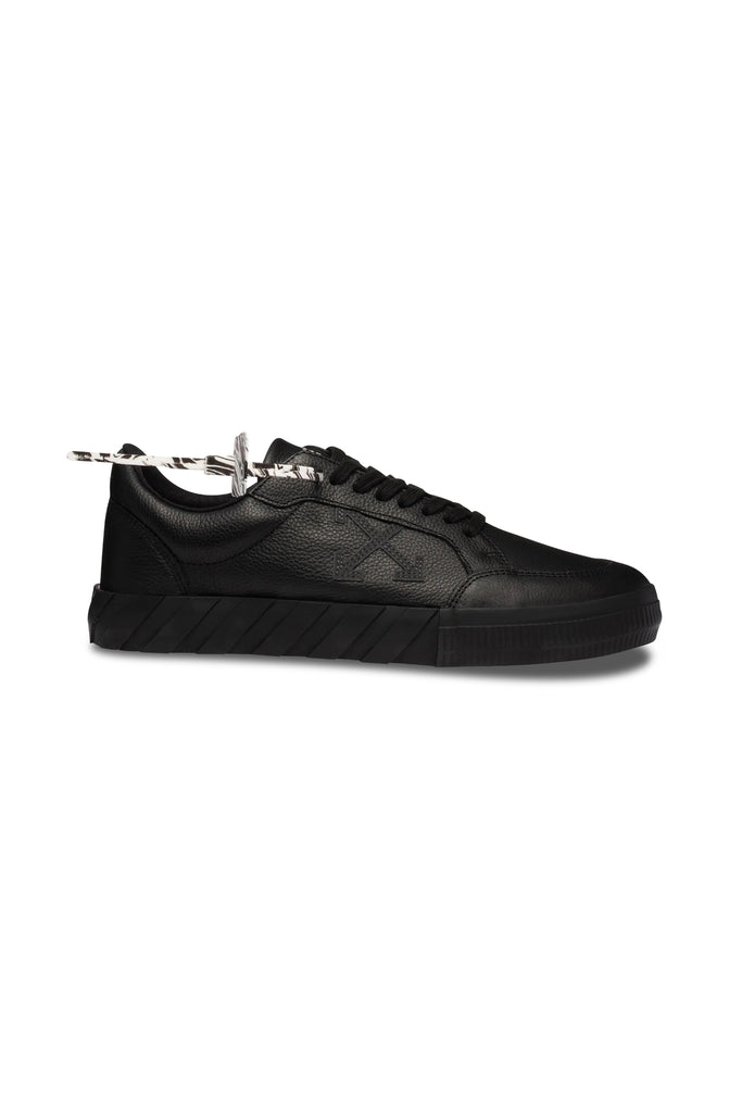 Low Vulcanized Leather Sneakers - Black/Iridescent