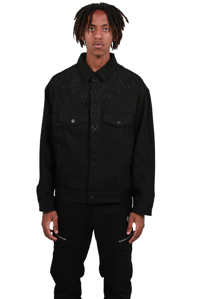 Embroidery Wings Jean Jacket - Black