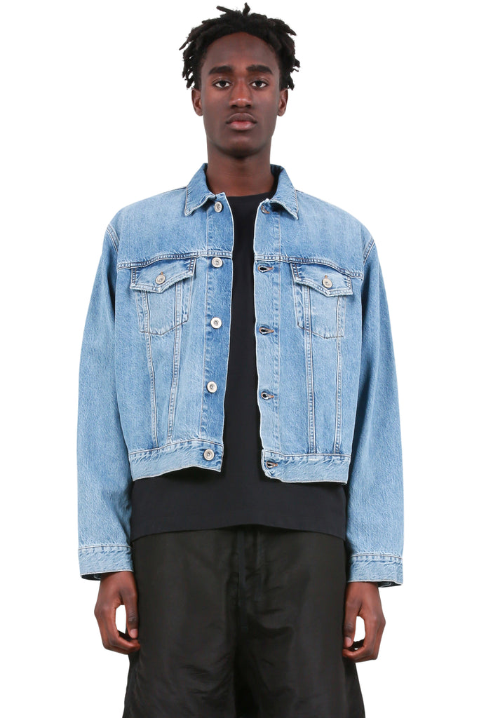 UNRAVEL PROJECT: Introh Rigid Chopped Denim Jacket - Indigo | LESSONS