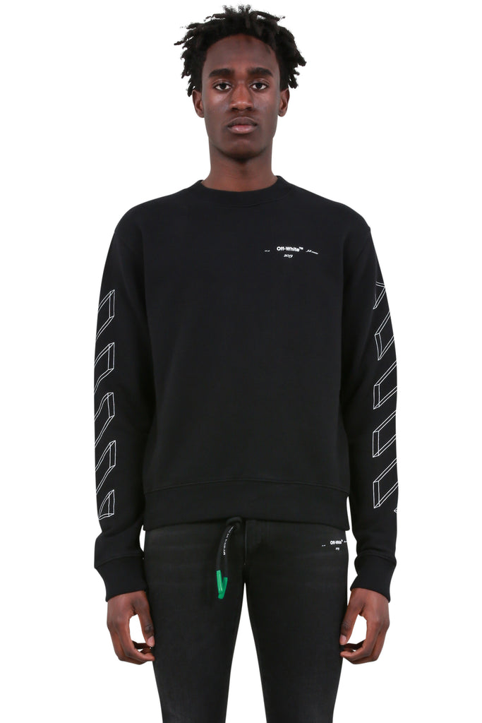 Diagonal 3D Logo Crewneck - Black/White