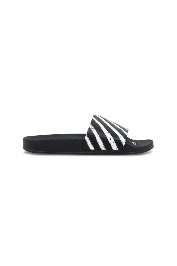 Spray Stripes Slides - Black/White